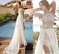 Julie Vino 2014 Hot Sale Bridal Gowns Crew Applique A Line Sleeveless Formal Chiffon Long Beach Wedding Dresses For Bride