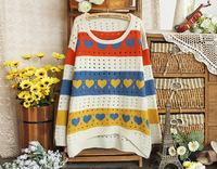2014 Brand New Winter Women Fashion Sweater Pullover Hollow Holes Heart Print Hoody Top Shirt