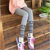 2014 autumn new Korean version of the original single ladies foot mouth kitten printing Waichuan nine points leggings wholesale