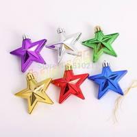 6cm tree decorations plated Christmas ornaments shaped pentagram alien ball Christmas props 6pcs/set