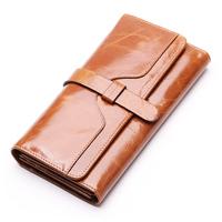 100% oil waxing cowhide wallet for women Long designer drew-string wallet holder women leather genuine purses free shipping