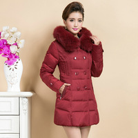 Ms. genuine high-end down jacket down jacket slim pack code mother fox collars and long sections of the down jacket