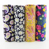 FREE SHIPPING 4 pieces 45x50cm retro paisley daisy mixed poplin cotton fabric fat quarters sewing cloth tecido patchwork W4B1-5