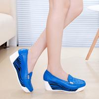 2014 autumn leather shoes fashion swing shoes wedges single shoes platform women's casual shoes
