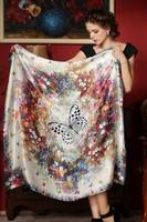 Fl spring and autumn silk scarf silk mulberry silk women's design long silk scarf cape large facecloth