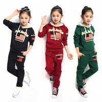 New Fashion 2014 Female Child Spring Autumn Cotton Long-Sleeve Hoodies + Pants Baby Kids Sports Suit Girls Clothing Sets