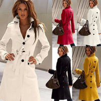 High end Fashion Women Wool Slim Trench Lapel Winter Long Coat Outwear With Belt back single breasted black yellow white red