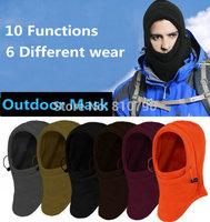 2 Pcs Winter Outdoor Thermal Warm 6 in 1 Balaclava Hood Police Swat Skiing Cap Fleece Ski Bike Scarf Wind Stopper Ski Mask Hats