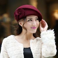 2015 hot sale winter women flower woolen berets female fashion dome fedoras popular autumn stewardess cap free shipping