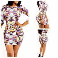 2014 Fashion Autumn Sexy Dress Novelty Dress Long Sleeve Floral Print High Waist Party Dress YH9027 S M L Plus Size