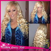 2014 Best Long Virgin Brazilian Human Hair Blonde Full Lace Wig #613 Glueless Loose Wave Wigs With Side Bangs For Black Women
