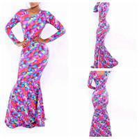 2014 Fashion Autumn Sexy Dress Neon  Mermaid Celebrity Party Long Maxi Dress YH9018/YH9028 S M L Plus Size