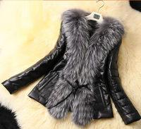 Plus size fur faux leather coat for women outwear long sleeve wool slim faux fur jackets LY1697