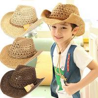 Children HAT baby big Straw Hat Visor boy sun hat cowboy hat