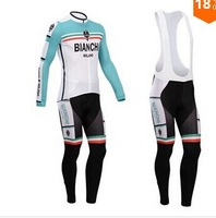 Free Shipping!2014 men's bianchi bule and white cycling jerseys and bib pants
