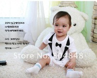 Baby Boys Short Sleeve Cute Gentlemen Romper, Summer Boys Romper, freeshipping