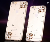 2014 Luxury Rhinestone Crystal Bling Case Case For iPhone 6 Plus 4.7 inch iphone6 Diamond CoverConnected flower five phone shell