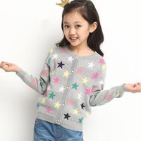 Girls sweater  Cardigan  Jacket  Children  Cotton  Knitwear  Kids  2014 Autumn  New  Free shipping  Gray / black