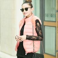 Chengzhao agent 2014 new winter fashion leisure short dresses slim collar candy color mosaic cotton vest