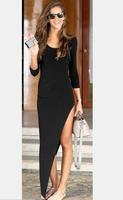 hot sale women drss2014 autumn long-sleeved dress sexy Slim elegant black O-Neck evening gown new fashion irregular vestidos