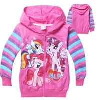 Retail New Autumn girls cartoon My Little Pony outerwear kids long sleeve cotton coat children's leisure printing jackets