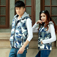 Chengzhao agent 2014 Winter camouflage couples dress new fashion leisure self-cultivation hooded Lapel cotton vest