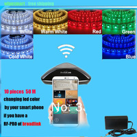 10 * Led Strip 5050 SMD RGB Flexible String Waterproof 72W 5M 12V 300LEDS + 10 * New RF mini Remote Controller + Power Adapter