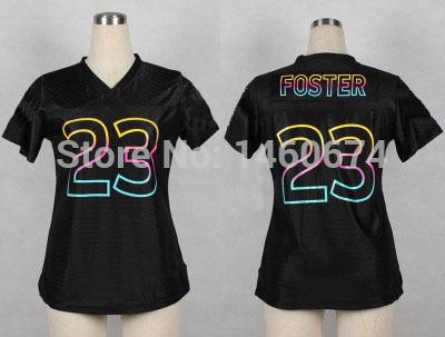 Free shipping womens 23 Arian Foster Jersey Houston Pro Line Black Fashion Jersey New Stitched S-4XL Drop Shipping(China (Mainland))