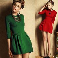 Free shipping 2014 new fashion hot sale Princess line dividing waist big yards long sleeve dress women small fragrant wind style