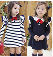 Top quality  brand vintage school uniform girls dresses 2~9age navy bow girl dress christmas baby clothing