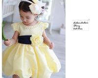 Princess Dress Pearls Lace Voile Dress Vestidos Big Flower Vestido Infantil Kids Clothes Vestidos De Menina Kids Dress WB-20