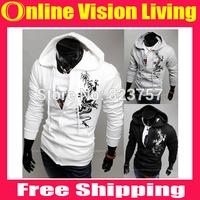 Free ship Fashion Brand Dragon Printing Hoodies Men Casual Slim Pullover Sweatshirt Men Sportswear Man Hoody Fleece HoodieA0631