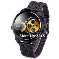Oulm3130 Steel Band Male Pointer Quartz Watch with Water Resistant and Stainless Steel Back Round Dial