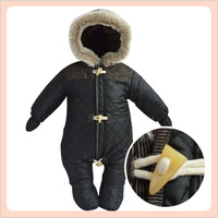 2014 new winter baby 6-18 month thicken fleece waterproof footies horn button&zipper close Detachable glove&foot strap 4 colors