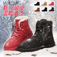 2014 winter lovers design men's snow boots cotton-padded shoes woman plus velvet thickening thermal ankle boots