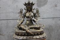 Tibet Old Bronze Copper Green TaRa Goddess Bodhisattva Kwan-Yin Guan Yin Buddha