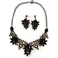 2014 Statement Necklace Black Flower Necklace Resin Fashion Vintage Necklace Earrings Set Jewelry Luxury Women Choker Wholesale