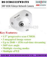Hikvision DS-2CD6332FWD-IVS 3MP WDR Fisheye Network mini Camera 360 degrees view angle 15m IR Audio/Alarm IP66 IK10 Vandal-proof