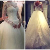 E43 2014 fashionable white bride lace wedding dress long sleeve see through bridal gown gowns vestido de noiva casamento