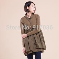 2014 Women's  new cotton fiber loose supersize ladies splicing fold render shirt jacket
