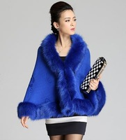 Fashion womens faux fur cape celebrity poncho heavyweight  jacket