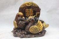 Chinese Bronze Copper Gild Feng Shui Spouse Mandarin duck bird Statue sculpture