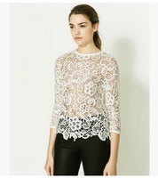 2014 Fashion New Women's Sleeve Hollow Crochet Lace Shirt Three Quarter Sleeve Floral Lady Lace Blouses