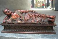 Chinese Pure Red Bronze exquisite sleeping Rest Sakyamuni Buddha Statue