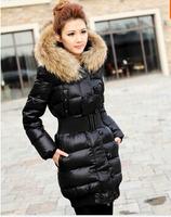 2013 Winter White Duck Down Large Fur Collar Medium-long Down Coat Female Plus Size Slim Down Jacket JW09