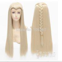 70cm The Hobbit Thranduil Long Anime Cosplay Wig Blonde Straight Cosplay Wig Kanekalon Fiber no lace Hair full Wigs