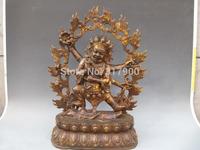"23 Inch""Tibet Fane classical Old Bronze Six Arm Hands Mahakala Buddha Statue"