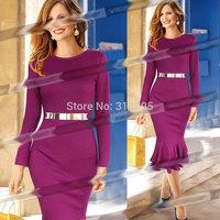 Freeship Top Quality 5T5119 S M,L XL,XXL 2014 New Women Winter Bodycon Dress Solid Brand Fashion Lady Dress Evening Party Dress