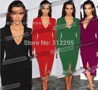 Freeship Plus Size 5T5124 S M,L XL,XXL 2014 New Women Winter Bodycon Pencil Dress Brand Fashion Lady Long Sleeve Party Dress