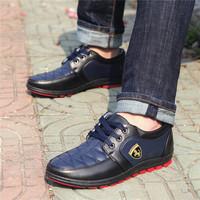 TOP 2014 New Fashion Design Brand Autumn Leather Leisure men sport shoes,men's Casual horse shoes Men's Sneakers 39-44 size